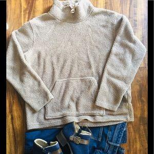 GAP Soft Taupe Teddy Bear Fleece Pullover-S